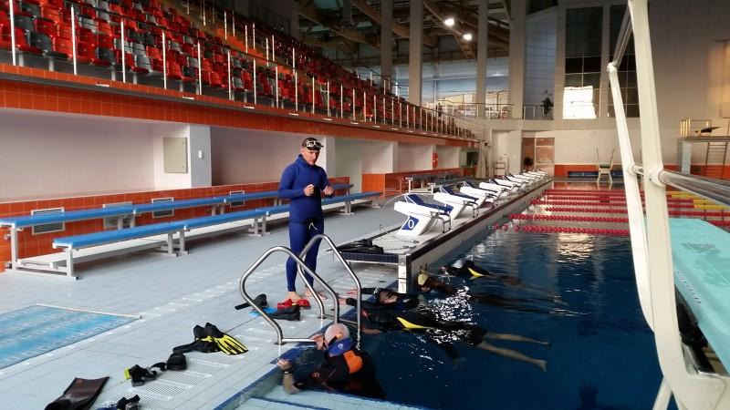 Обучение фридайвингу в Санкт-Петербурге, базовый курс SSI FreeDivinf Basic в бассейне